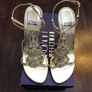 Stuart Weitzman Caviar Gold High Heel